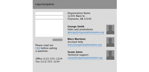 diagram of a cluttered contact form