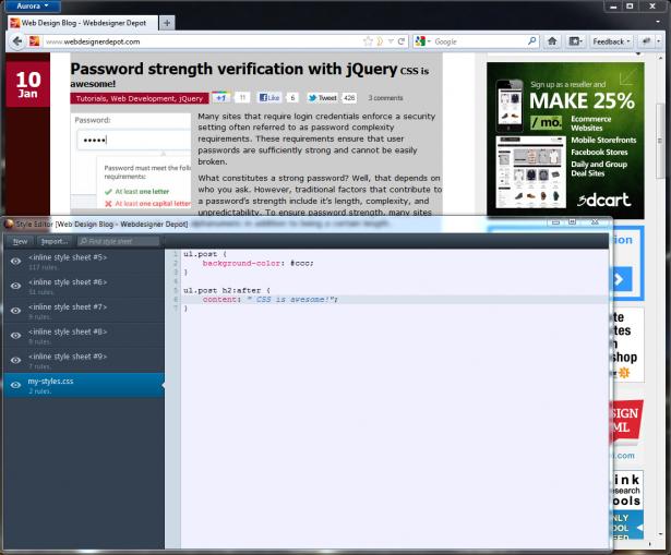 Firefox 11's CSS editor
