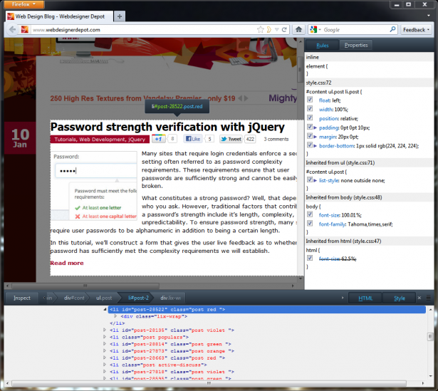 The Firefox HTML inspector, expanded.