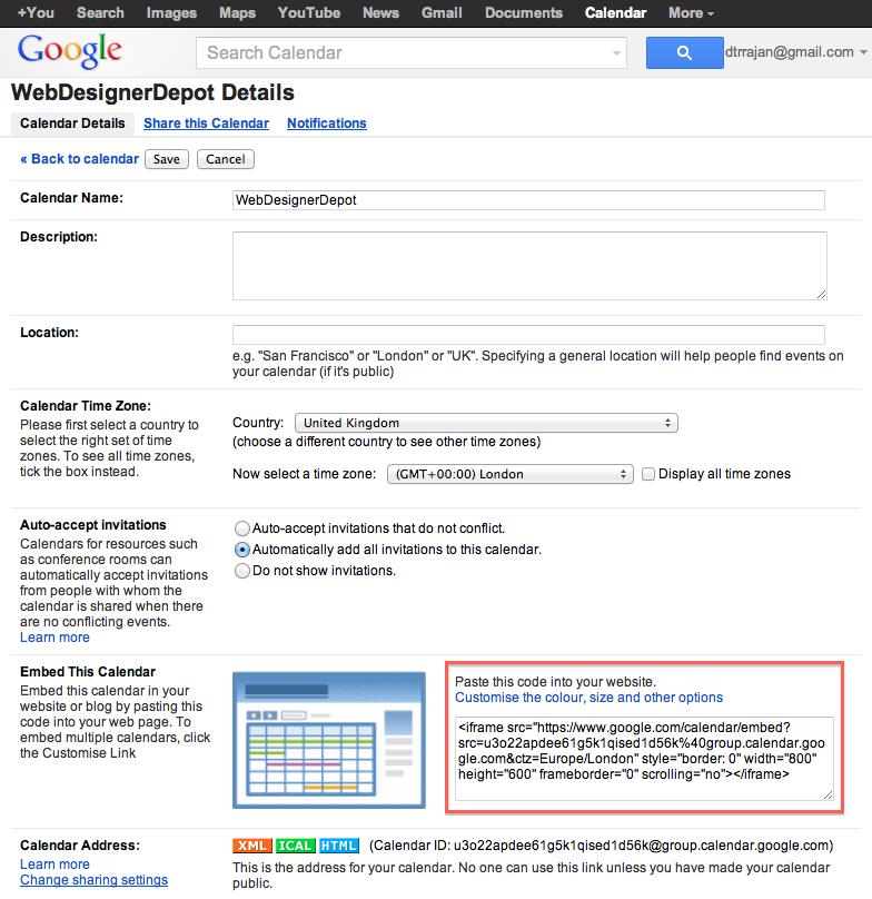 Integrating Google Calendar With Your Website Webdesigner Depot Webdesigner Depot Blog Archive