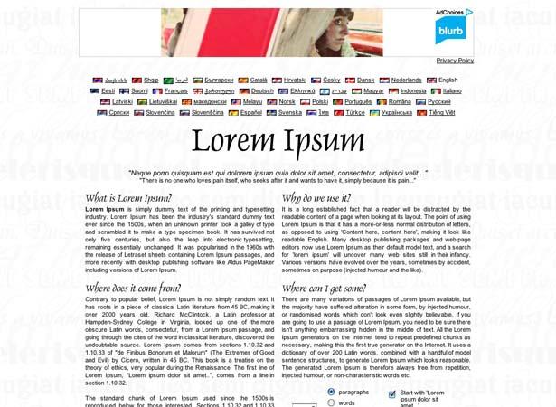Web Design Lorem Ipsum Paragraphs