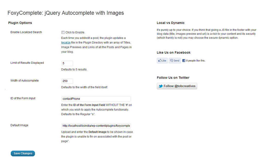 Foxycomplete Search with Images as a WordPress Plugin - Preview of WordPress settings page.