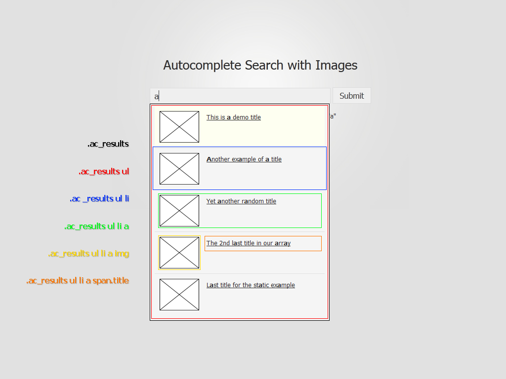 HTML and CSS Layout of the Foxycomplete Search with Images Result Div