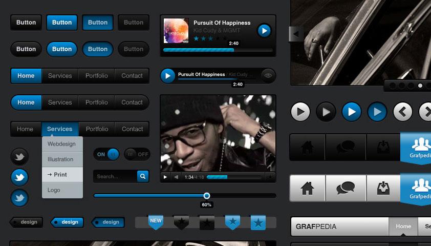 Free download: Media Black UI Kit (PSD)