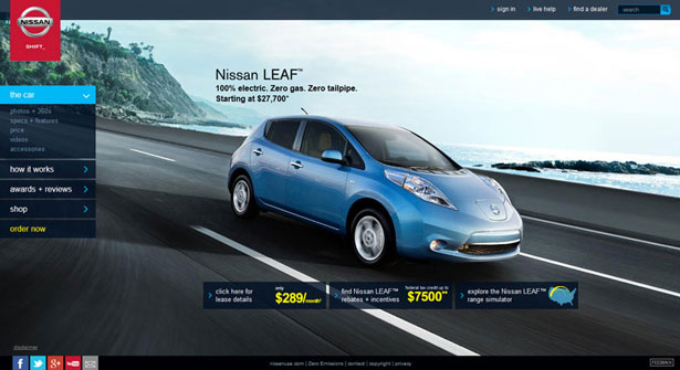 Nissan Leaf website