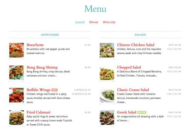 Retaurant menu