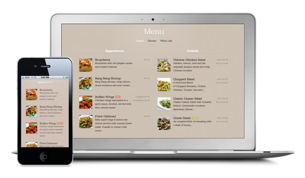 Restaurant mobile website