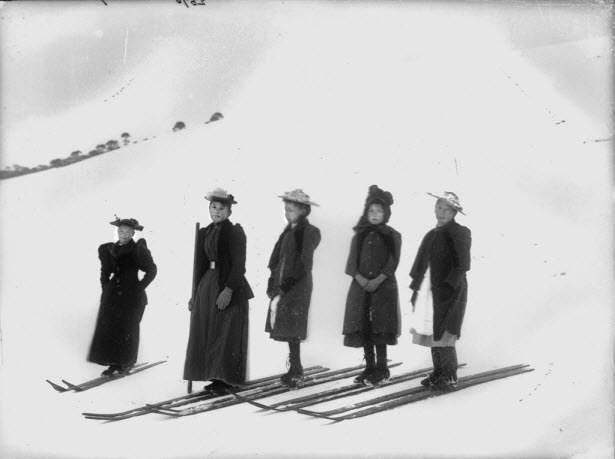 Girls Skiing