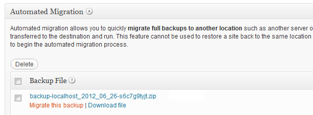Migrate this backup