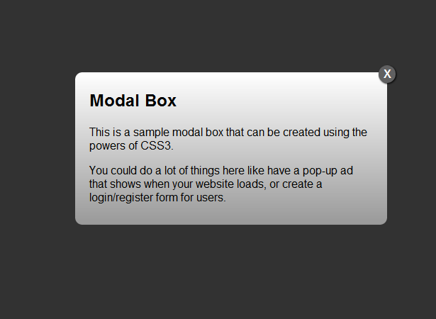 Creating a modal window with HTML5 & CSS3 | Webdesigner Depot