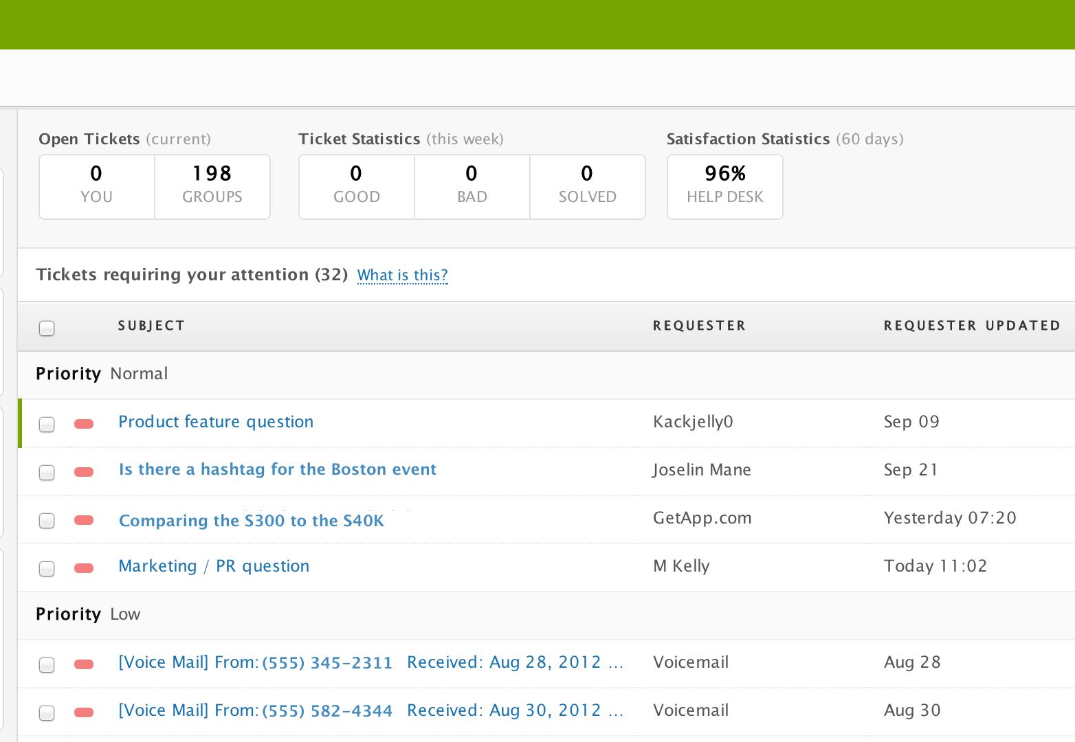 Zendesk screenshot