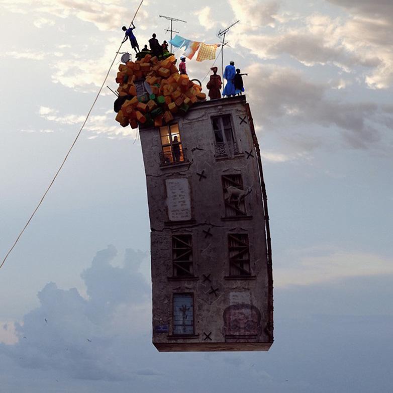 Flying house image