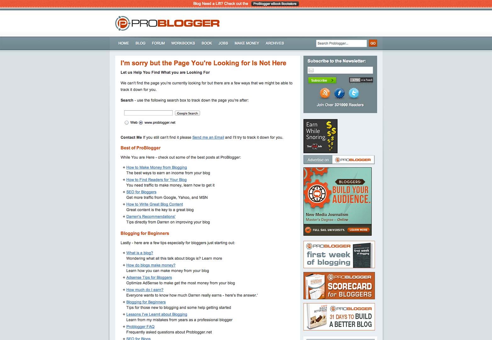 Problogger 404