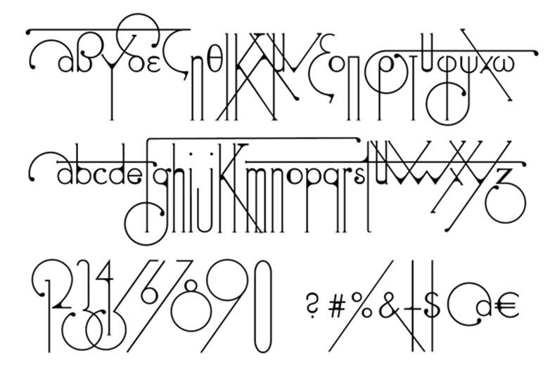 Futuristic Typeface Echoes Art Nouveau Designs