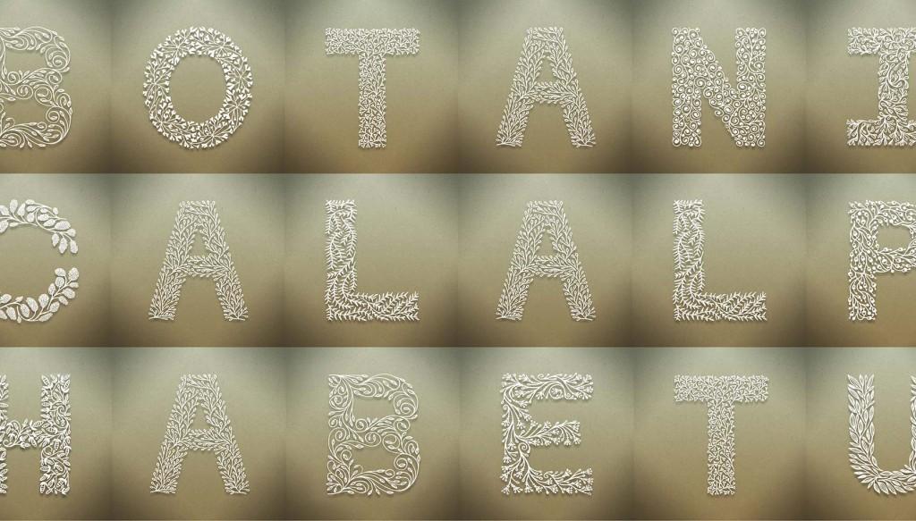 Beautiful botanical alphabet