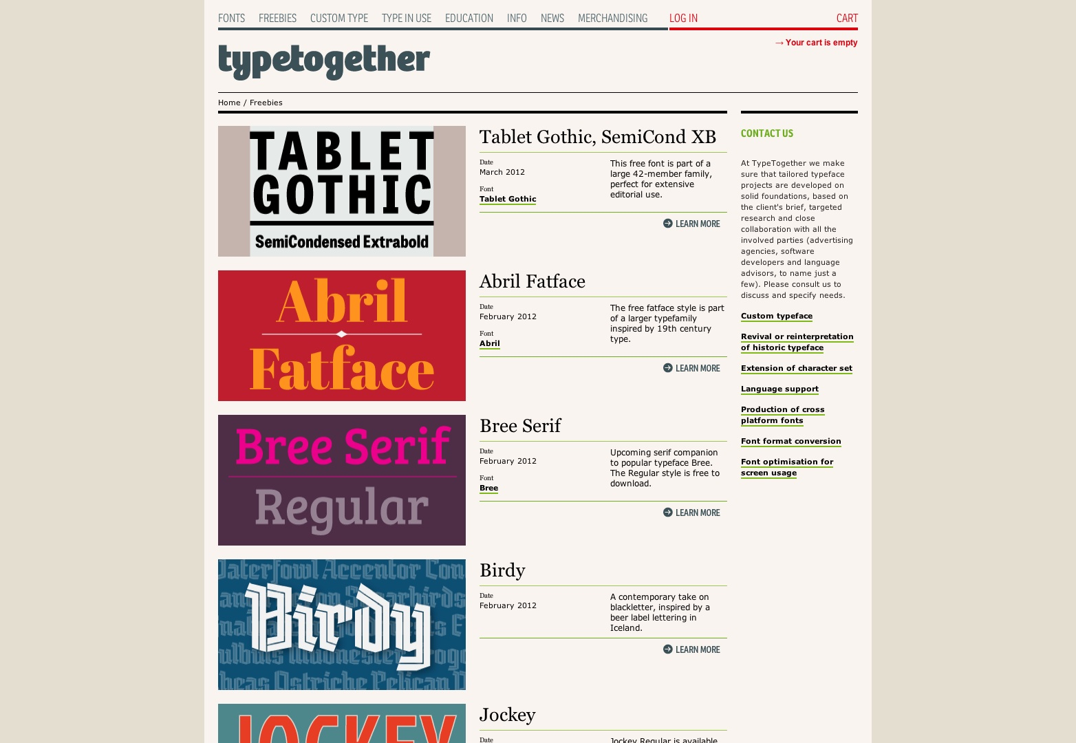 Freebies - Type Together : High quality fonts and custom type design