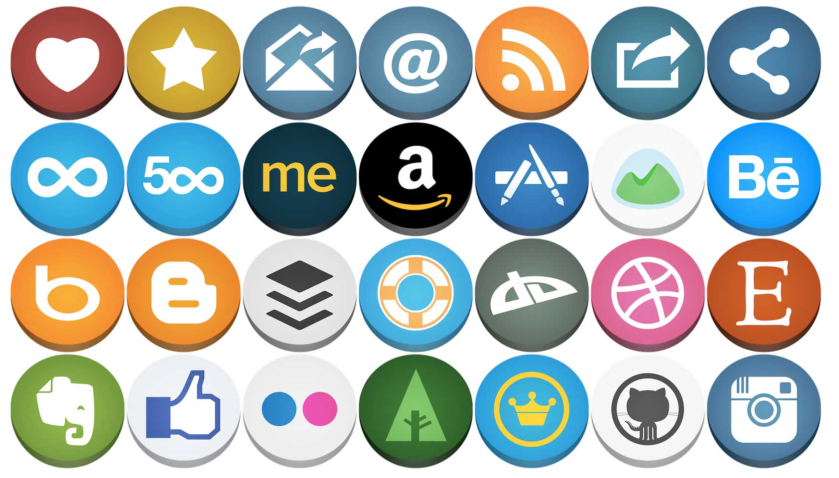 Free download: Flat but not flat rounded social icons