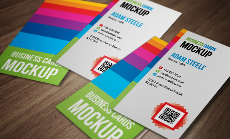 Vertical Business Card Mockups Free