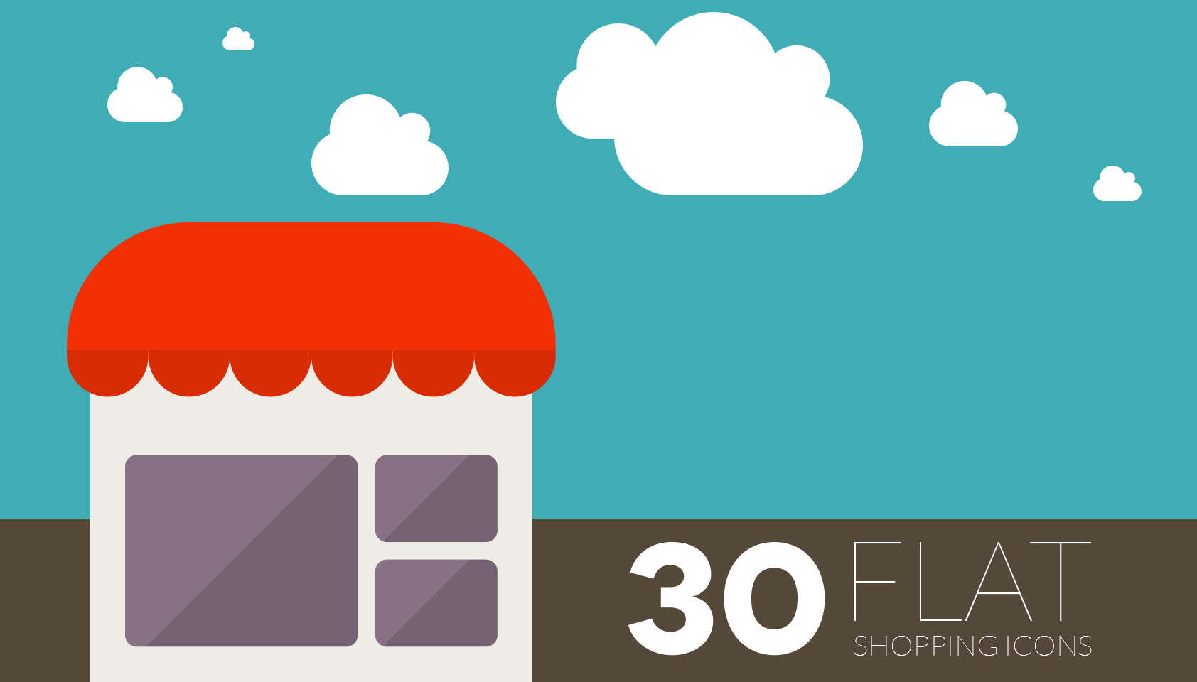 Free download: 30 flat shopping icons