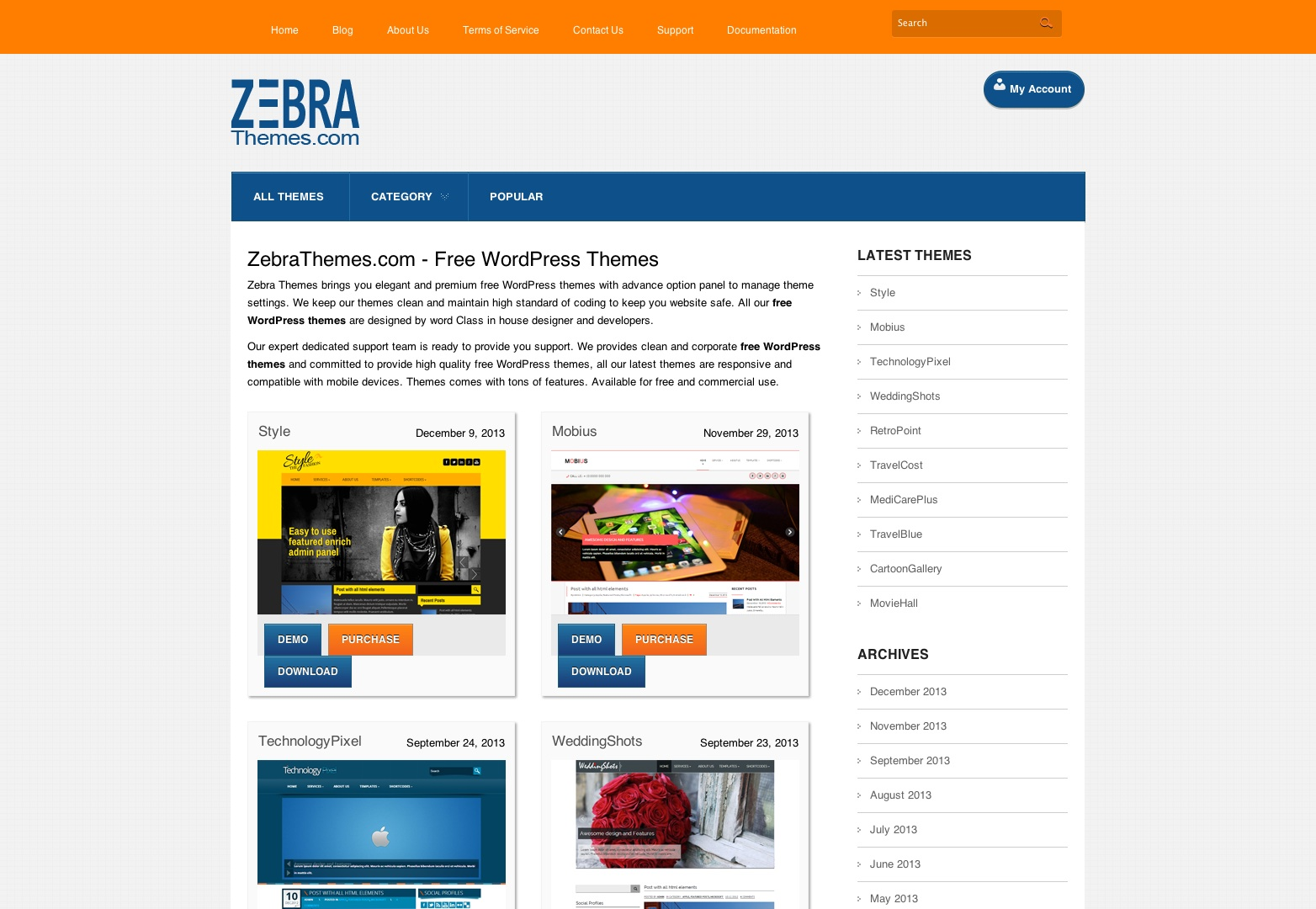 Free WordPress Themes | Clean Responsive WordPress Themes By zebrathemes.com