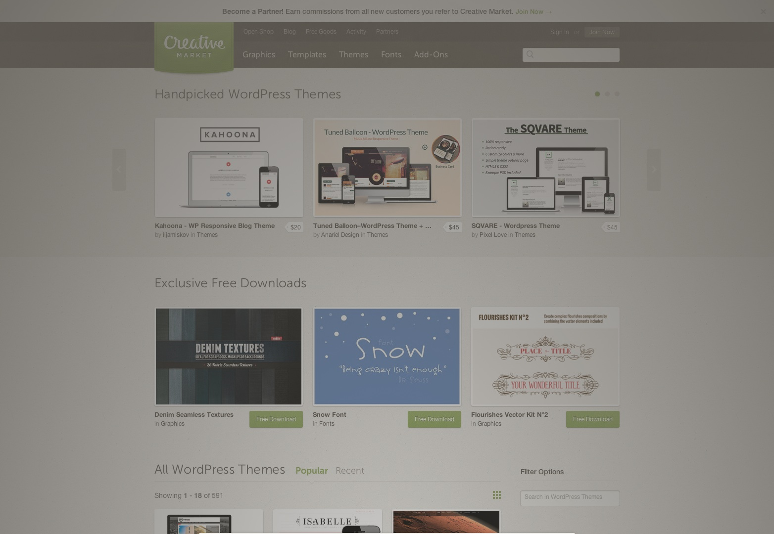 Popular WordPress Themes ~ Creative Market