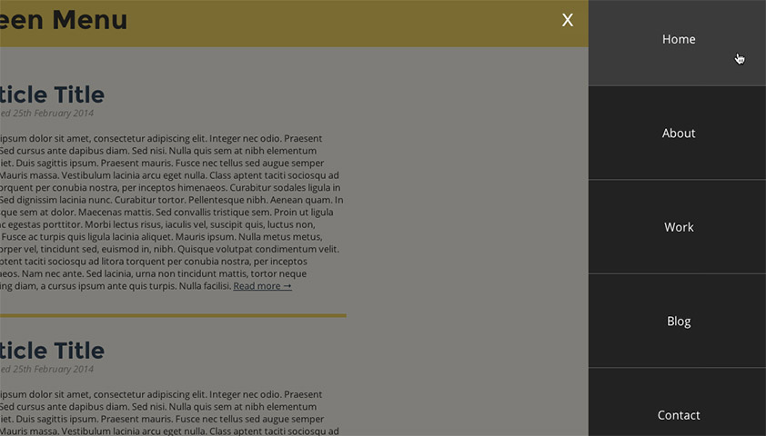 How to create mobile style slide-in navigation