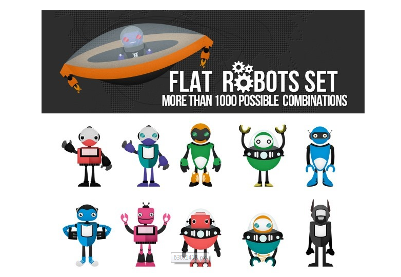 flat-robots-pack-over-1000-combinations