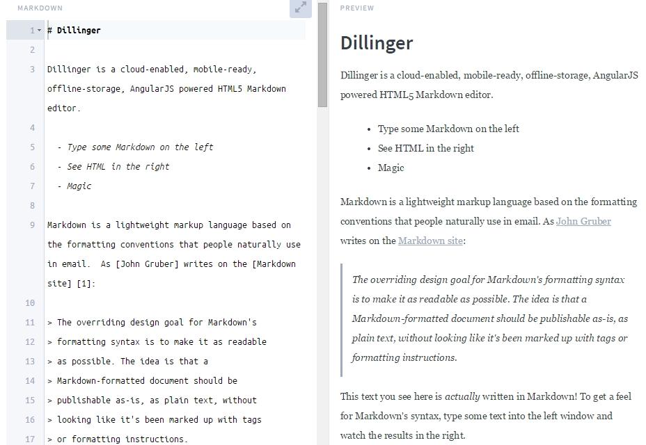 Dillinger: Online Markdown Editor