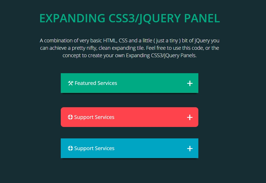 Expansing CSS3/JQuery Panel