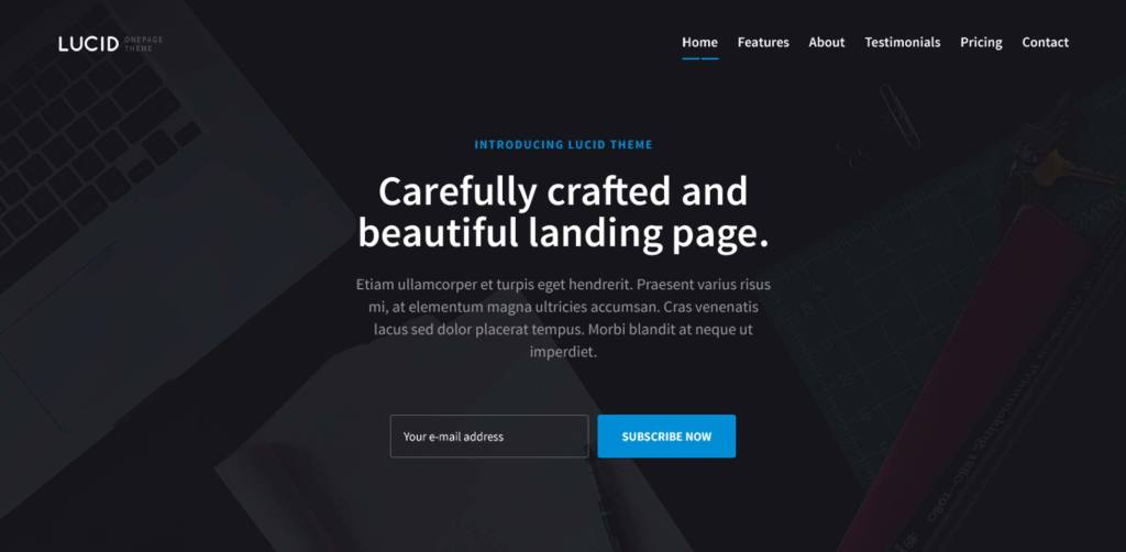 Free download: Lucid one page PSD template