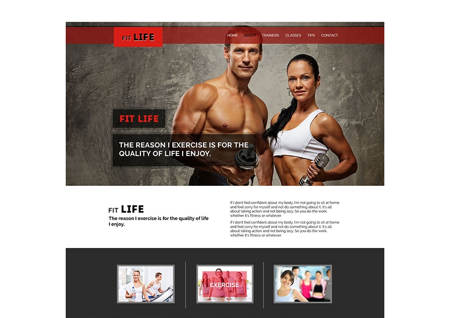 FitLife One Page PSD Template