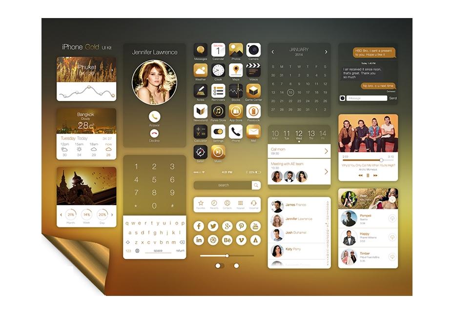 IPhone Gold UI Kit