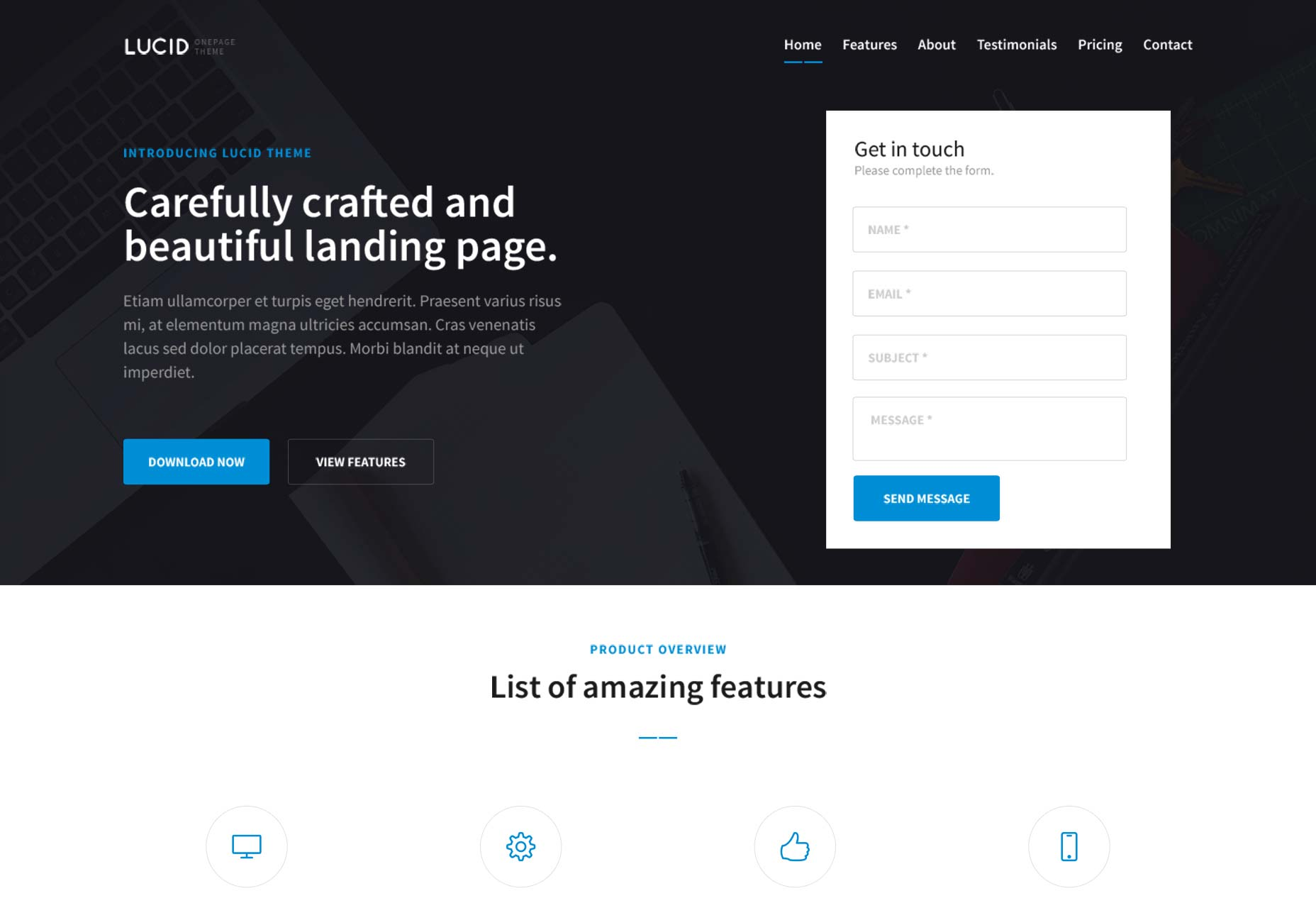 Free download: Lucid one page PSD template | Webdesigner Depot