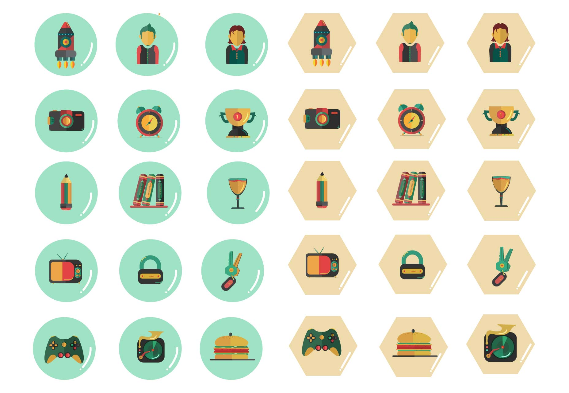 Polygon free flat icons set