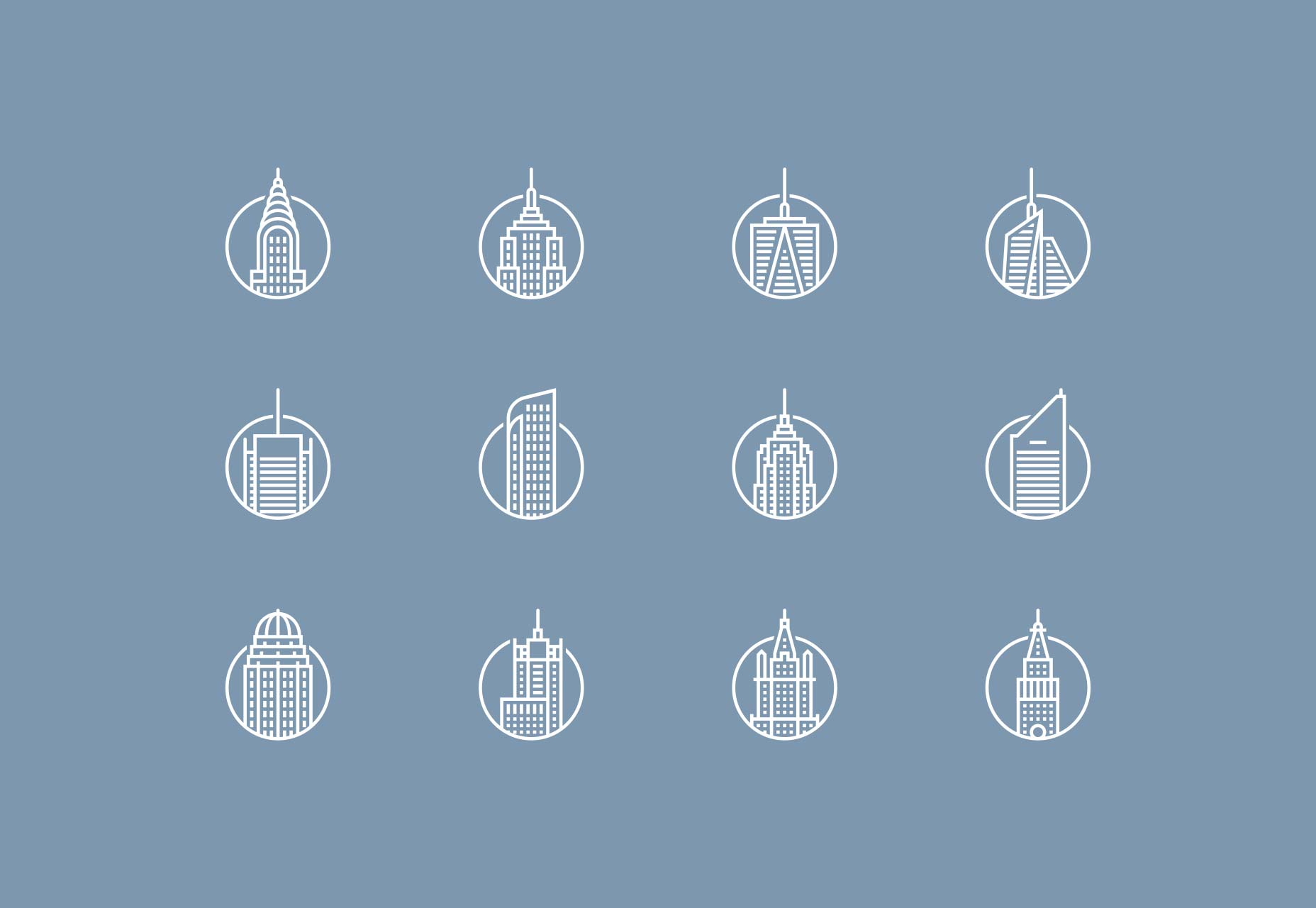 New York Buildings Icons Set