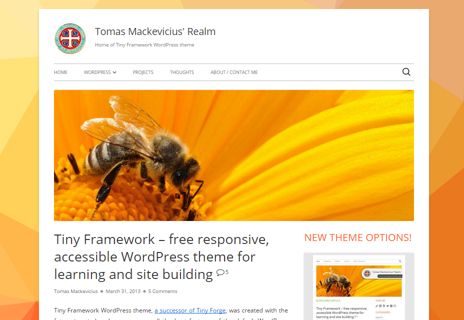 Tiny Framework: Responsive and Lightweight WordPress Theme