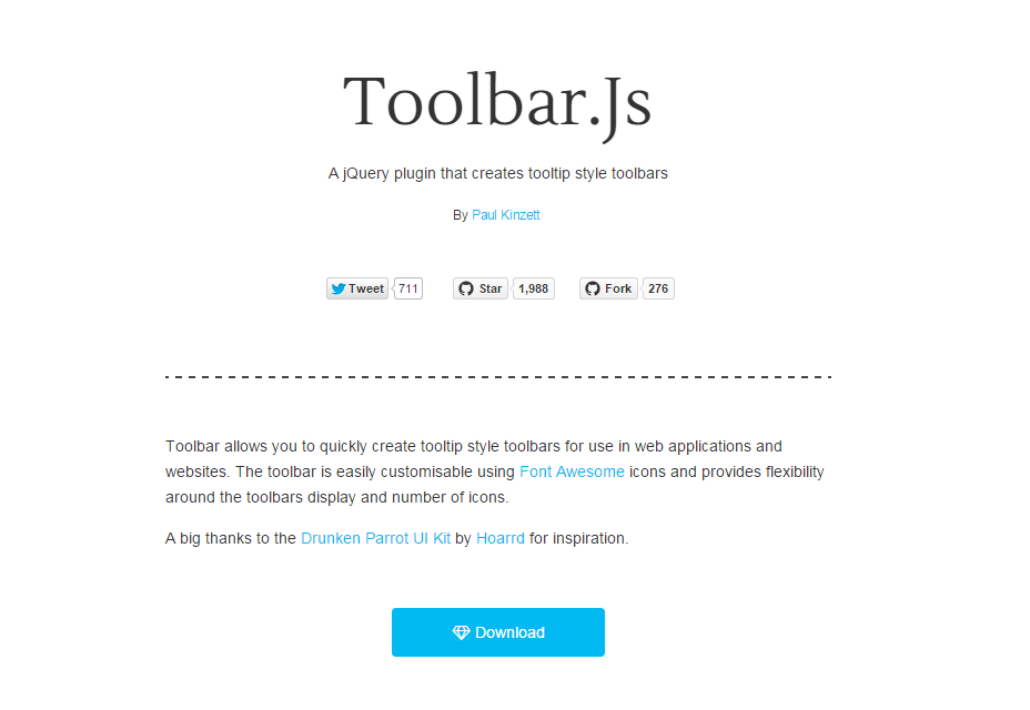 Toolbar.js: Tooltip Style Toobars JQuery Plugin