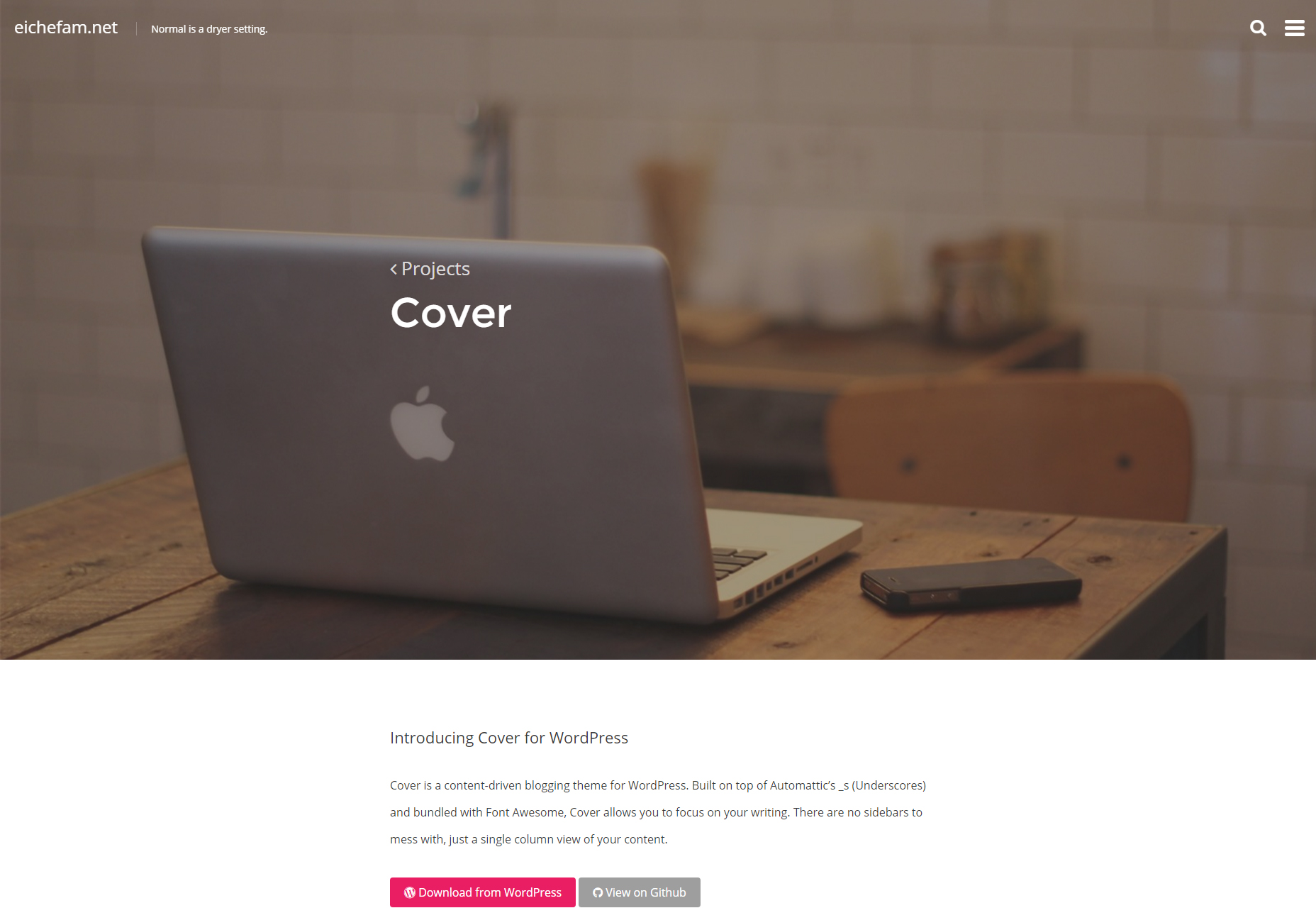 Cover: Free Minimal Writing WordPress Theme