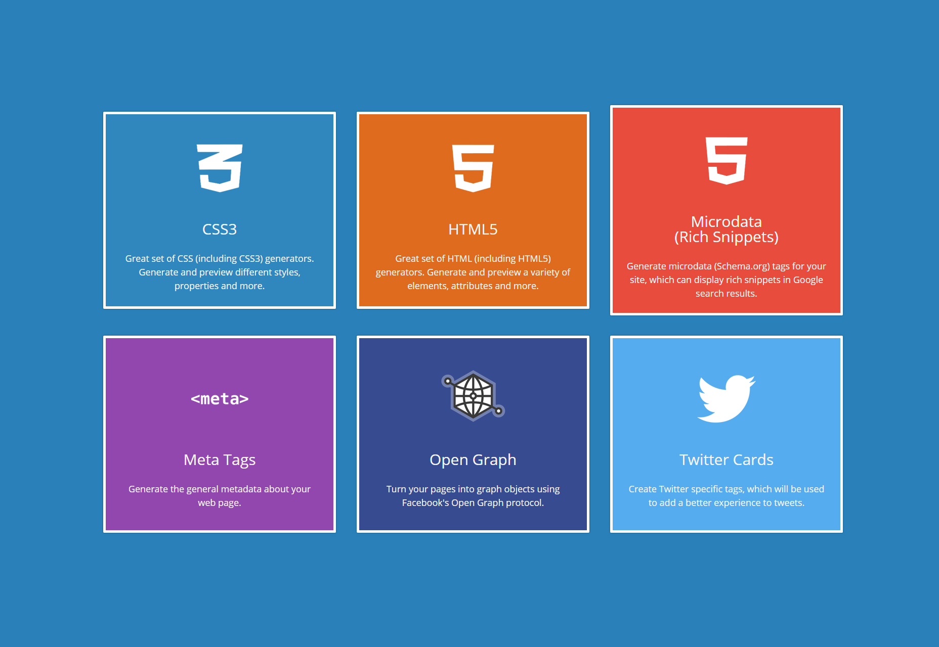 CSS3, HTML5, Microdata, Open Graph and Twitter Code Generators