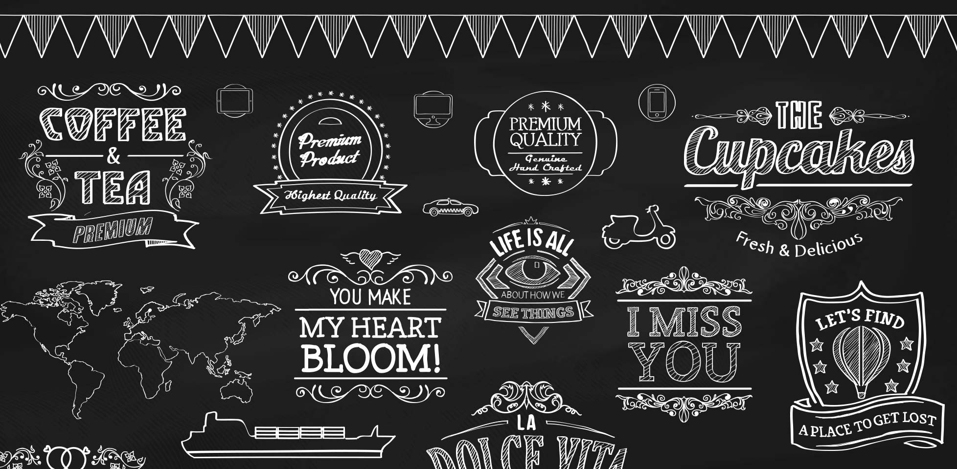 Free download: Chalk vector elements