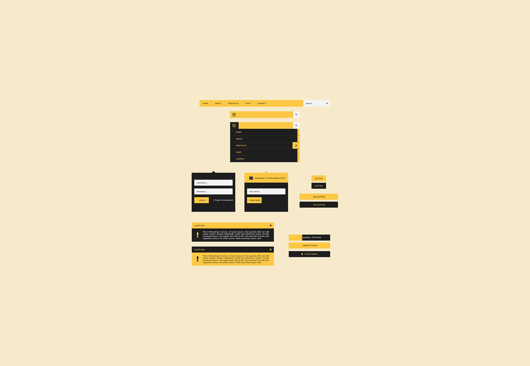 Flat User Interface PSD Design Kit