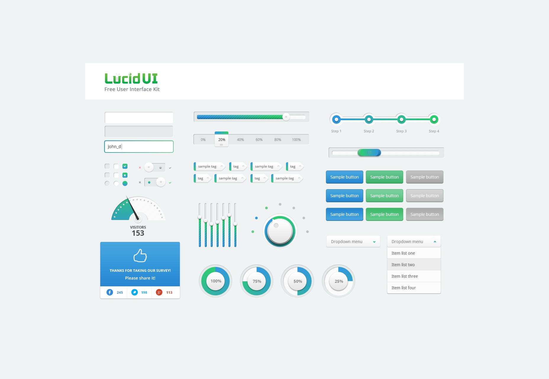 Free Lucid PSD UI Kit