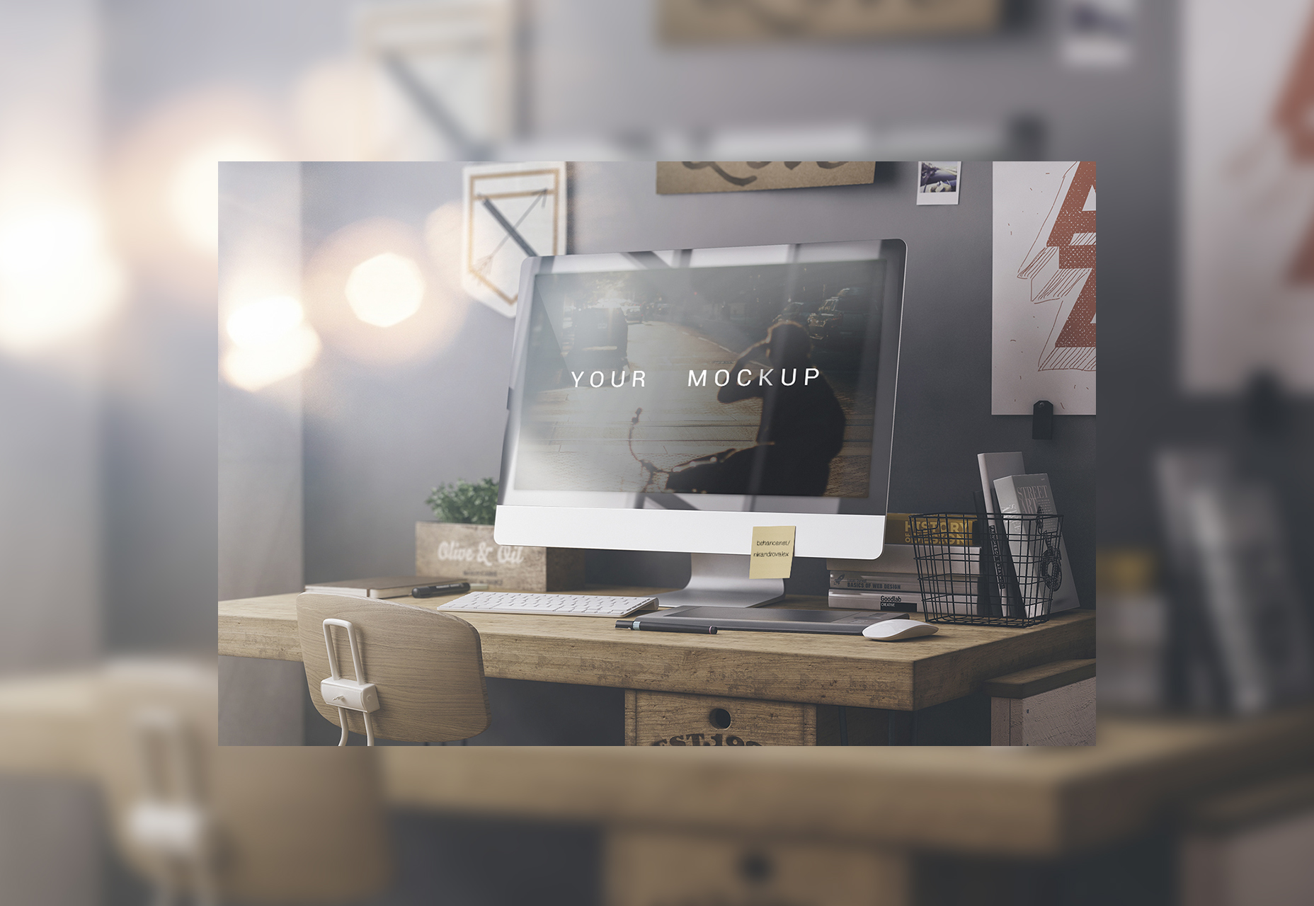 High-resolution IMac PSD Web Mockup