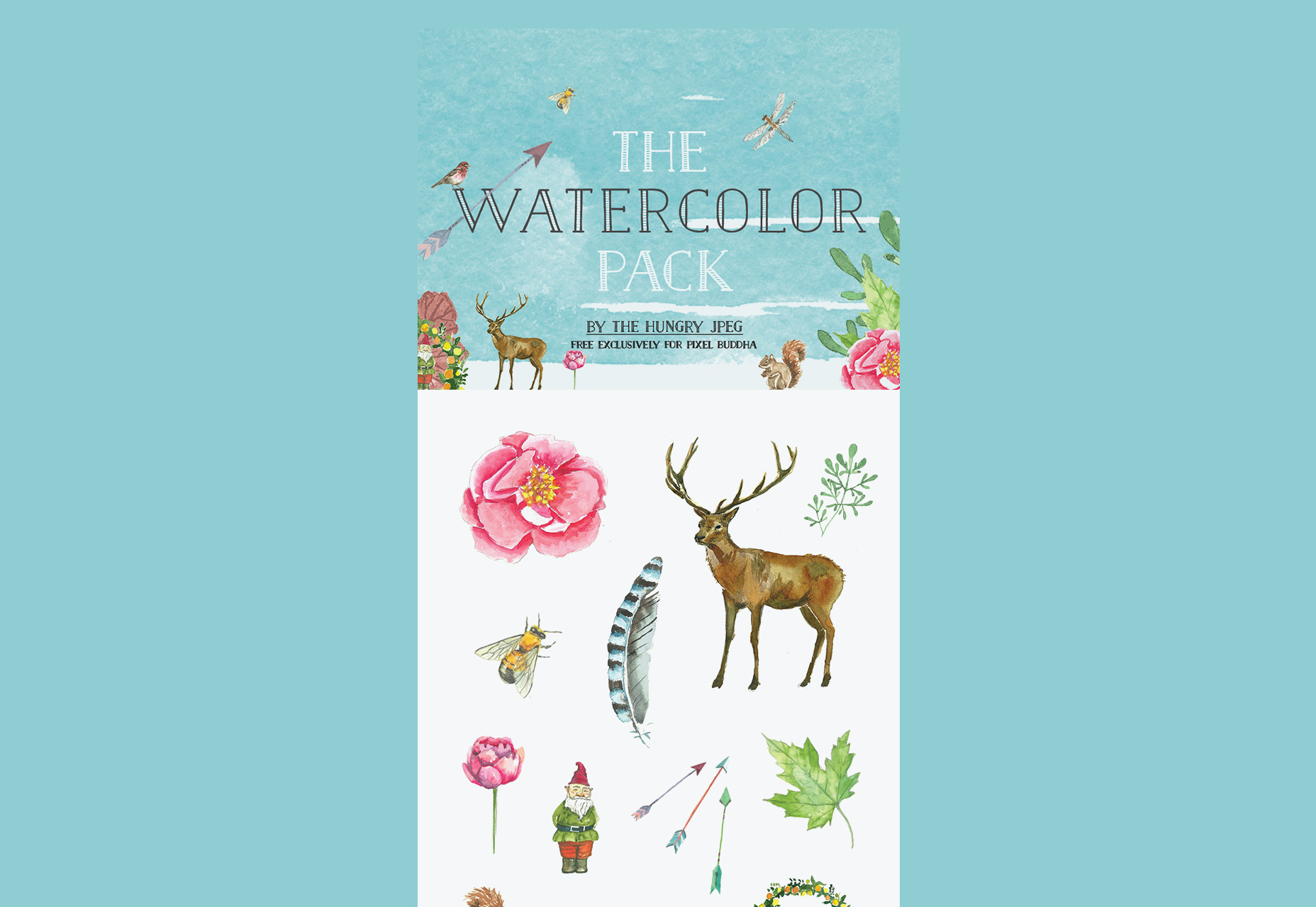 A Watercolor Free PSD and PNG Pack