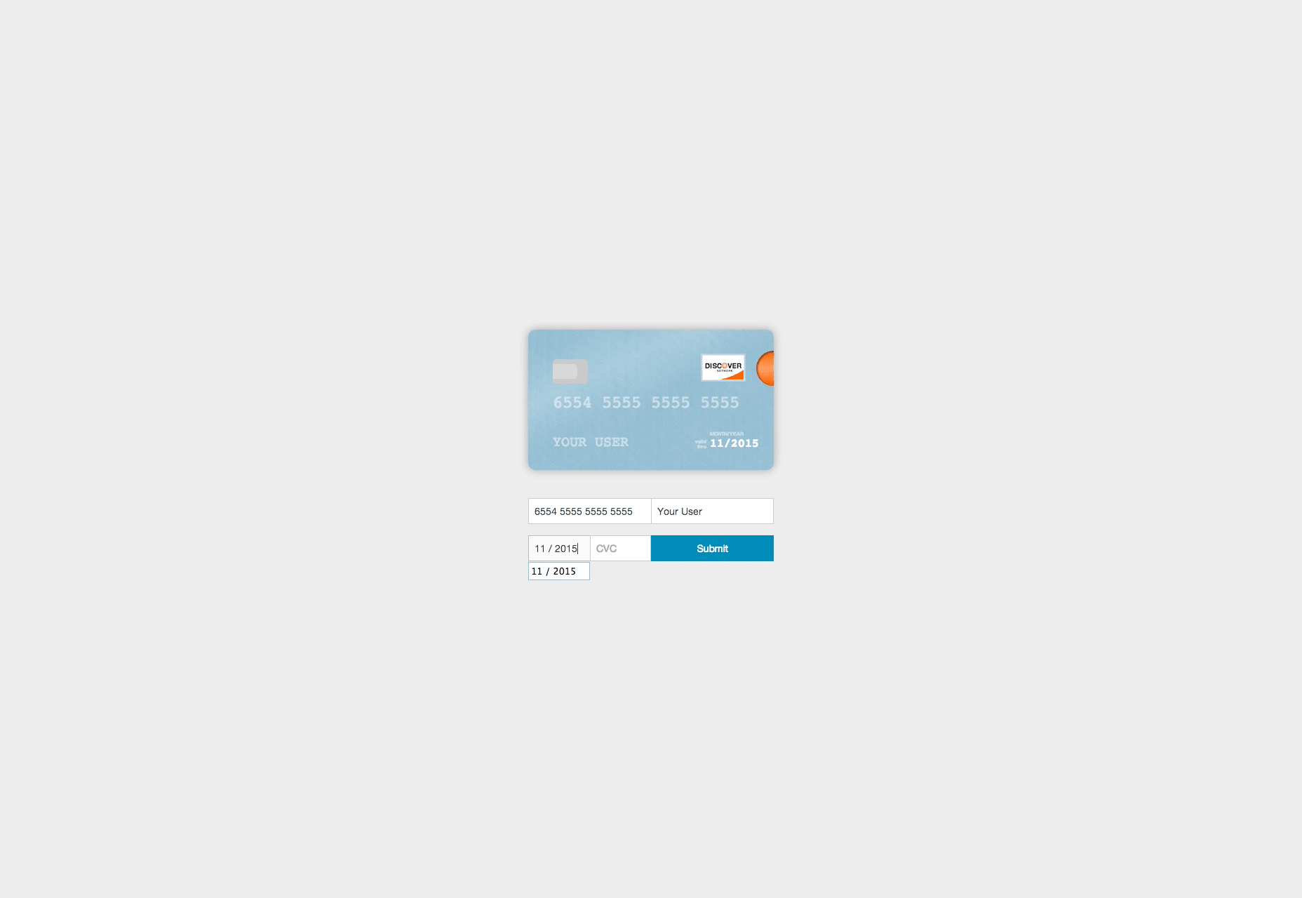 Card: Credit Card Information JavaScript Visualizer