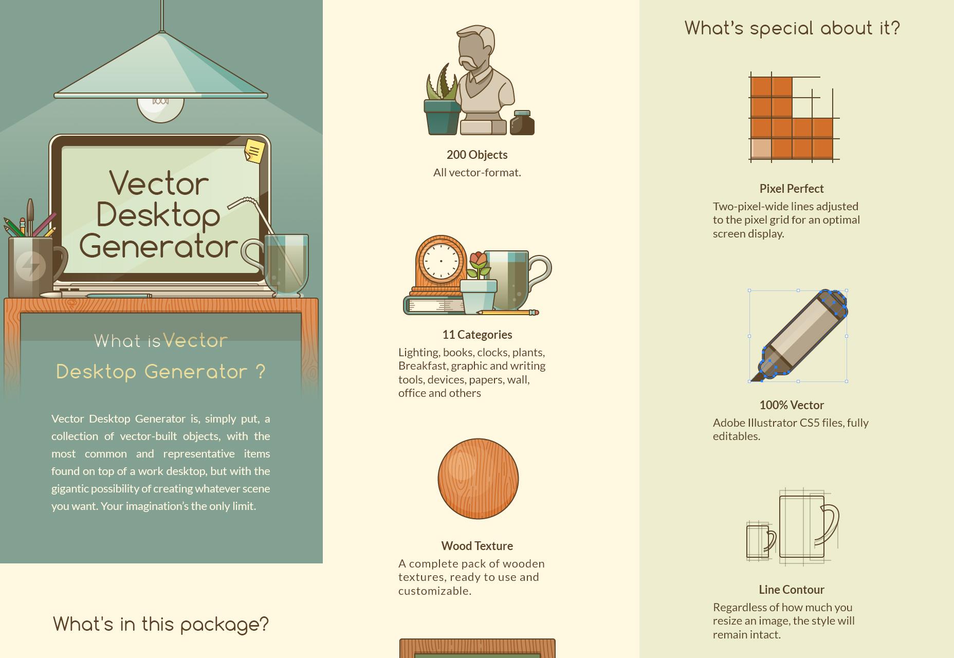 Desktop Generator: 200 Editable Vector Elements