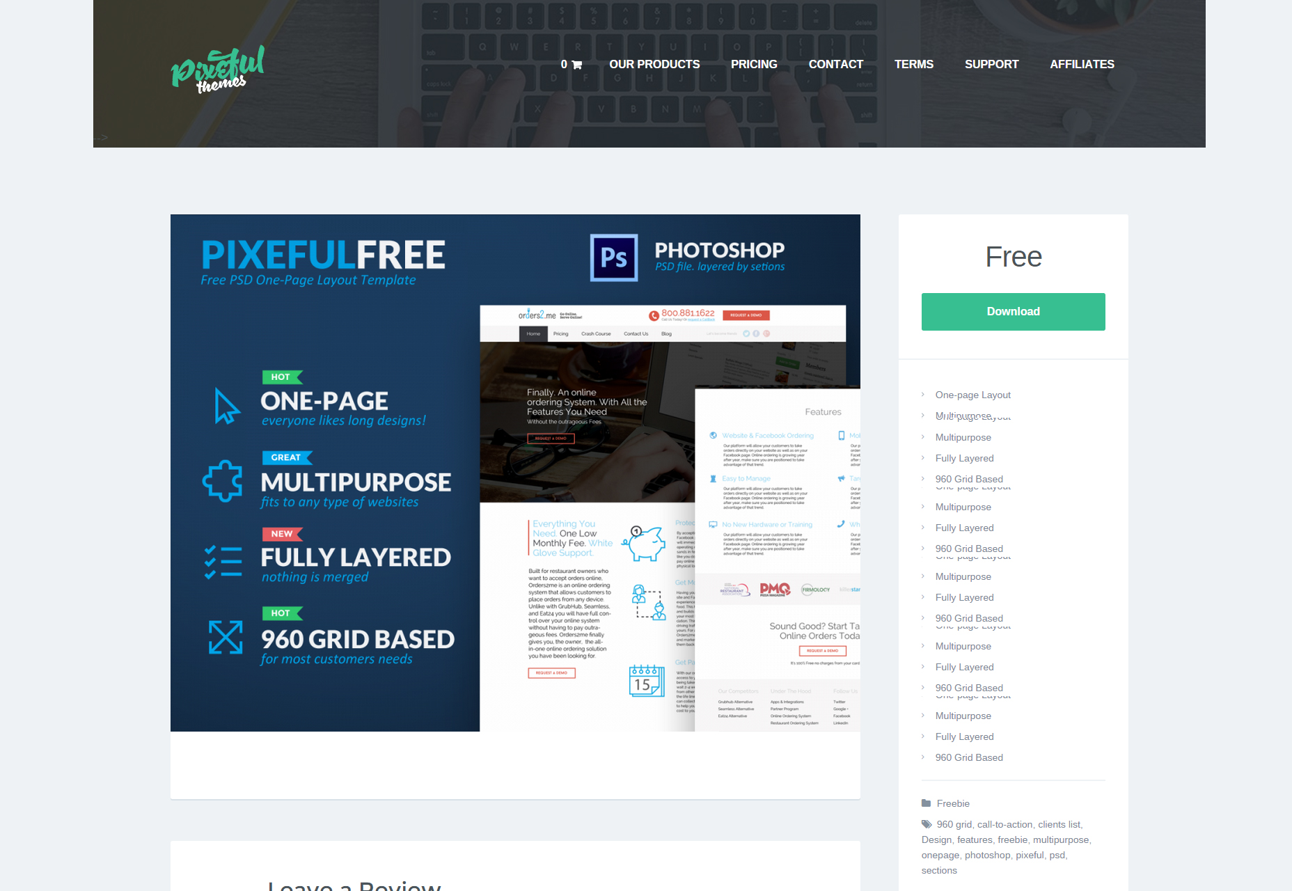 Free One-Page PSD Template