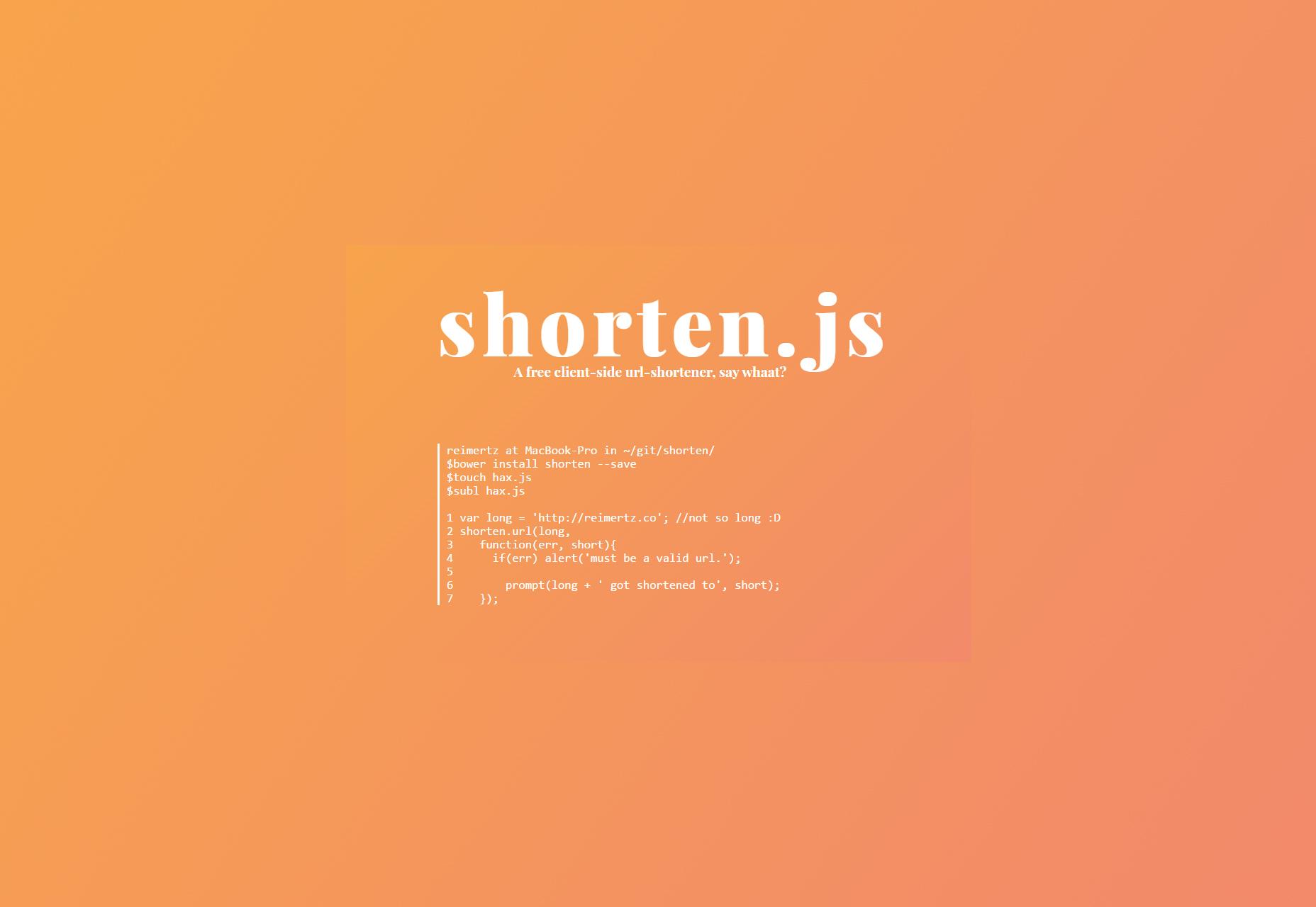 Shorten.li: Client-side Url-shortening JS Snippet