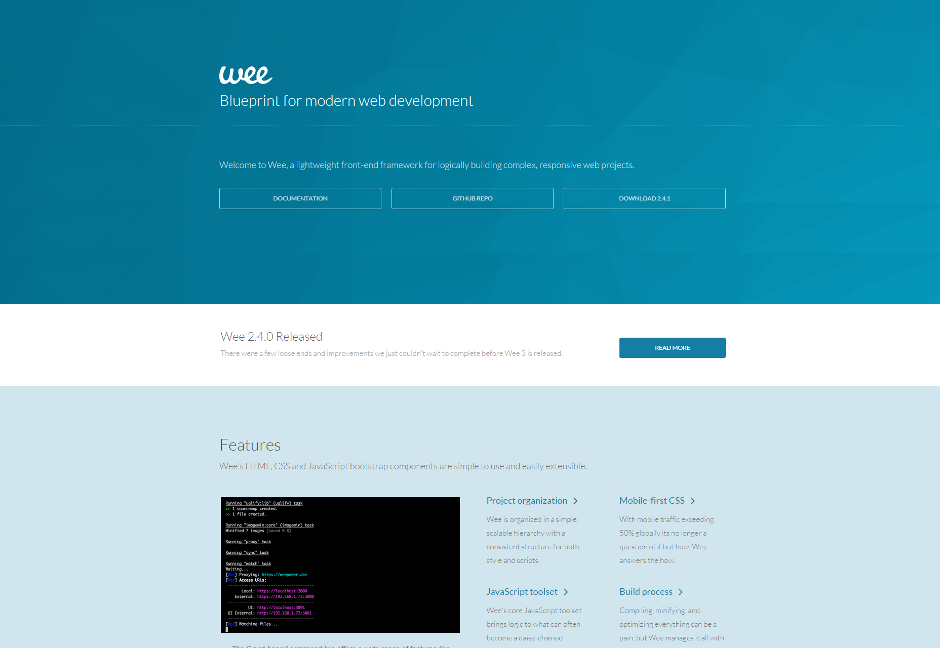 Wee: A Bootstrap Front-End Framework