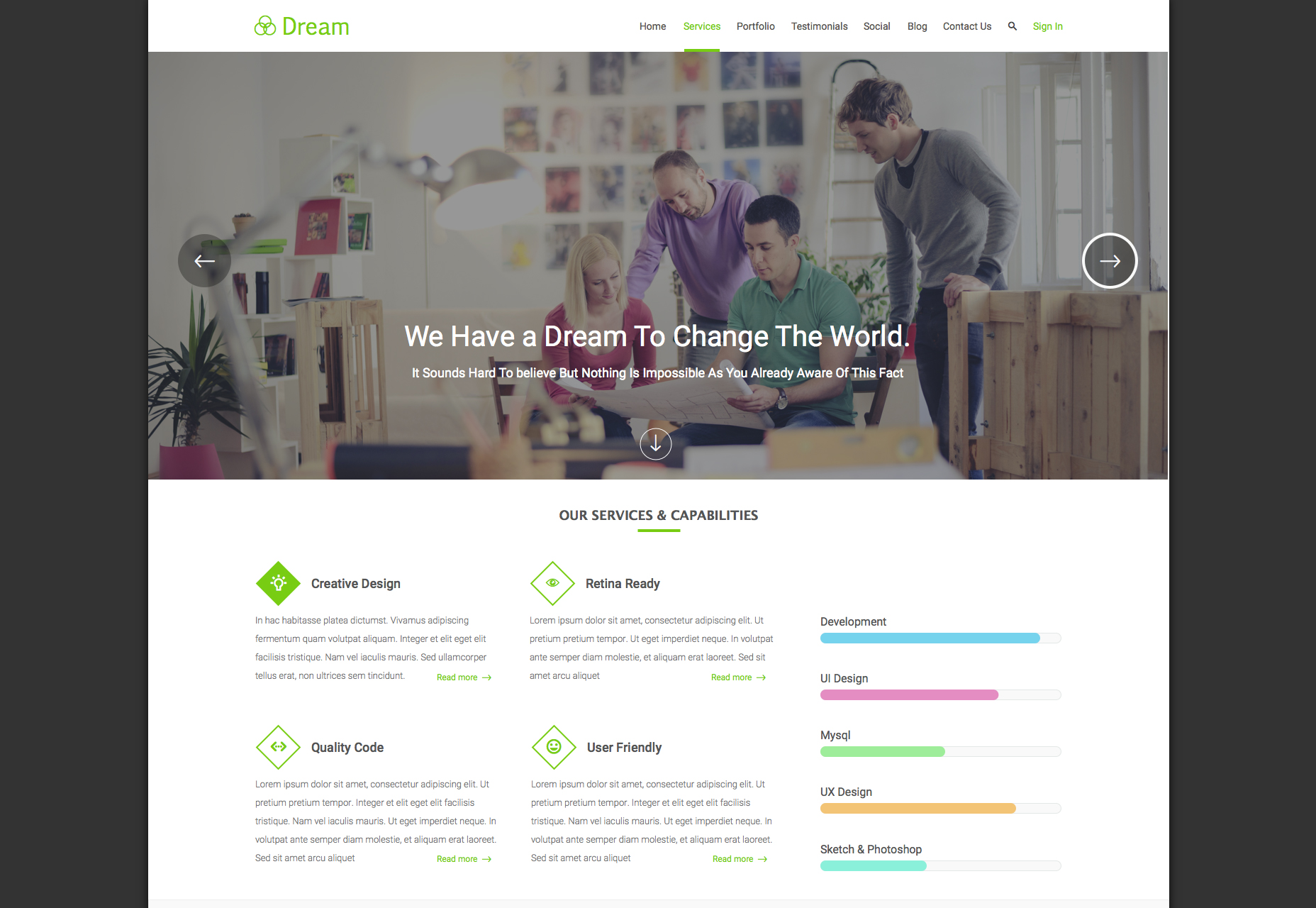 Dream: Clean Single-column Landing Page Template